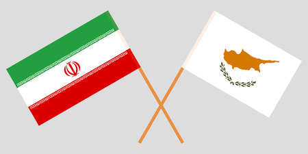 Iran and Cyprus. The Iranian and Cyprian flags. Official colors. Correct proportion. Vector illustration