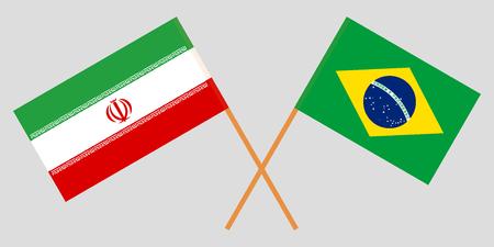 Iran and Brazil. The Iranian and Brazilian flags. Official colors. Correct proportion. Vector illustration Illusztráció