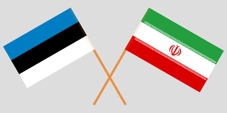 Iran and Estonia. The Iranian and Estonian flags. Official colors. Correct proportion. Vector illustration Illusztráció