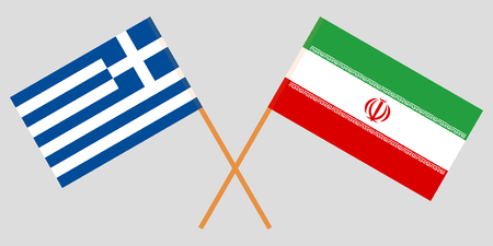 Iran and Greece. The Iranian and Greek flags. Official colors. Correct proportion. Vector illustration Illusztráció