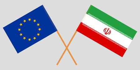 EU and Iran. The European and Iranian flags. Official colors. Correct proportion. Vector illustration Illusztráció
