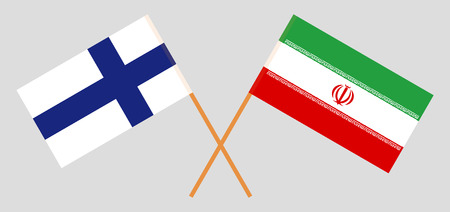 Iran and Finland. The Iranian and Finnish flags. Official colors. Correct proportion. Vector illustration