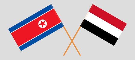 North Korea and Yemen. The Korean and Yemeni flags. Official colors. Correct proportion. Vector illustration