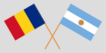 Argentina and Romania. The Argentinean and Romanian flags. Official colors. Correct proportion. Vector illustration