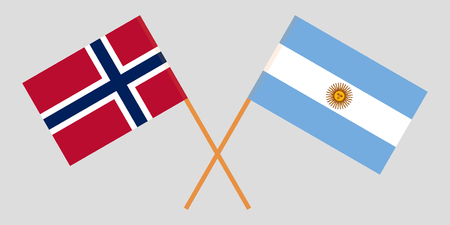 Argentina and Norway. The Argentinean and Norwegian flags. Official colors. Correct proportion. Vector illustration