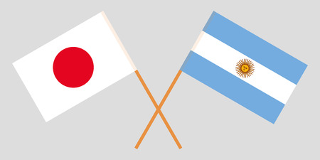 Argentina and Japan. The Argentinean and Japanese flags. Official colors. Correct proportion. Vector illustration