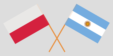 Argentina and Poland. The Argentinean and Polish flags. Official colors. Correct proportion. Vector illustration