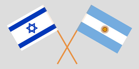 Argentina and Israel. The Argentinean and Israeli flags. Official colors. Correct proportion. Vector illustration Imagens - 123214180