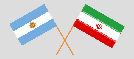 Argentina and Iran. The Argentinean and Iranian flags. Official colors. Correct proportion. Vector illustration