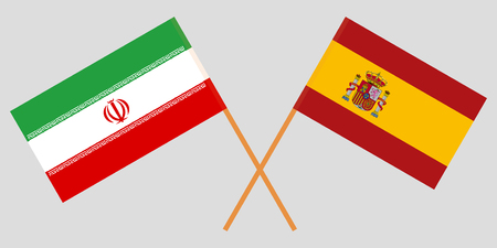 Iran and Spain. The Iranian and Spanish flags. Official colors. Correct proportion. Vector illustration