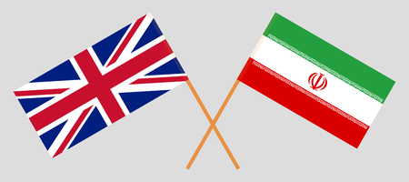 Iran and UK. The Iranian and British flags. Official colors. Correct proportion. Vector illustration