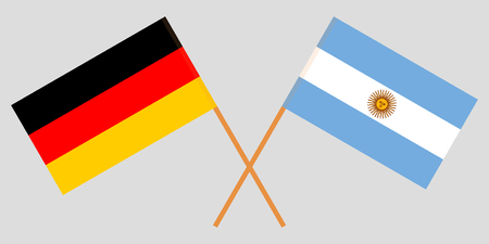 Argentina and Germany. The Argentinean and German flags. Official colors. Correct proportion. Vector illustration