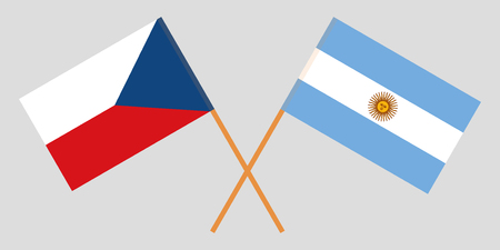 Argentina and Czech Republic. The Argentinean and Czech flags. Official colors. Correct proportion. Vector illustration