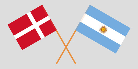 Argentina and Denmark. The Argentinean and Danish flags. Official colors. Correct proportion. Vector illustration Ilustrace
