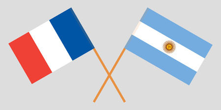 Argentina and France. The Argentinean and  French flags. Official colors. Correct proportion. Vector illustration Vettoriali