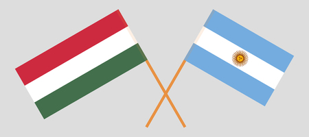 Argentina and Hungary. The Argentinean and Hungarian flags. Official colors. Correct proportion. Vector illustration