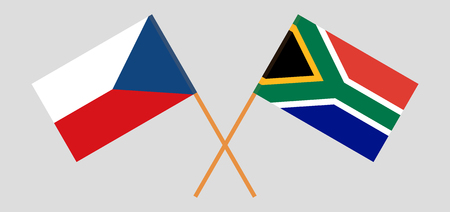 RSA and Czech Republic. The South African and Czech flags. Official colors. Correct proportion. Vector illustration