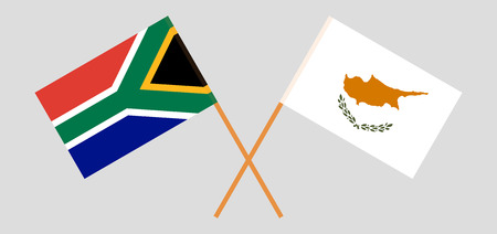 RSA and Cyprus. The South African and Cyprian flags. Official colors. Correct proportion. Vector illustration Vettoriali
