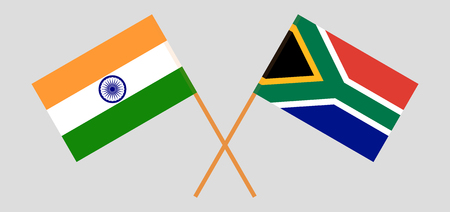 RSA and India. The South African and Indian flags. Official colors. Correct proportion. Vector illustration