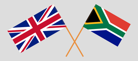 RSA and UK. The South African and British flags. Official colors. Correct proportion. Vector illustration
