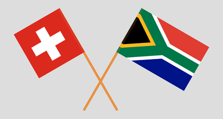 RSA and Switzerland. The South African and Swiss flags. Official colors. Correct proportion. Vector illustration