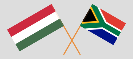 RSA and Hungary. The South African and Hungarian flags. Official colors. Correct proportion. Vector illustration