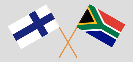 RSA and Finland. The South African and Finnish flags. Official colors. Correct proportion. Vector illustration