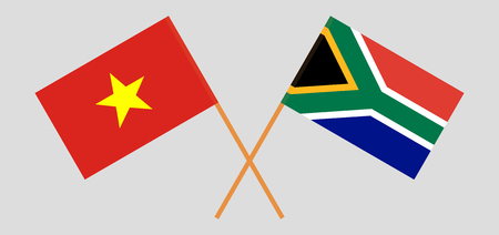 RSA and Vietnam. The South African and Vietnamese flags. Official colors. Correct proportion. Vector illustration