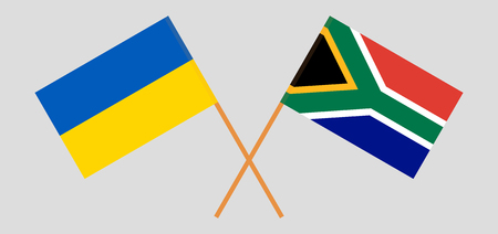 RSA and Ukraine. The South African and Ukrainian flags. Official colors. Correct proportion. Vector illustration