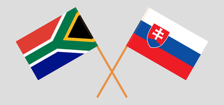 RSA and Slovakia. The South African and Slovakian flags. Official colors. Correct proportion. Vector illustration