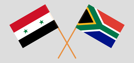 RSA and Syria. The South African and Syrian flags. Official colors. Correct proportion. Vector illustration