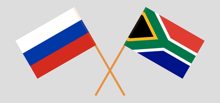 RSA and Russia. The South African and Russian flags. Official colors. Correct proportion. Vector illustration