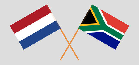 RSA and Netherlands. The South African and Netherlandish flags. Official colors. Correct proportion. Vector illustration