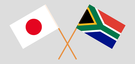 RSA and Japan. The South African and Japanese flags. Official colors. Correct proportion. Vector illustration Illustration