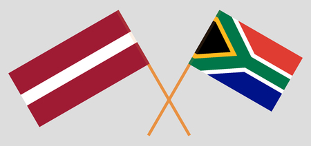 RSA and Latvia. The South African and Latvian flags. Official colors. Correct proportion. Vector illustration