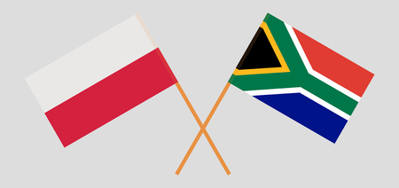 RSA and Poland. The South African and Polish flags. Official colors. Correct proportion. Vector illustration Ilustrace