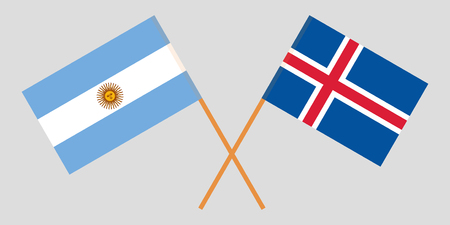 Argentina and Iceland. The Argentinean and Icelandic flags. Official colors. Correct proportion. Vector illustration