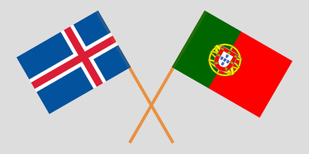 Portugal and Iceland. The Portuguese and Icelandic flags. Official colors. Correct proportion. Vector illustration Ilustração
