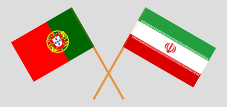 Portugal and Iran. The Portuguese and Iranian flags. Official colors. Correct proportion. Vector illustration Illusztráció