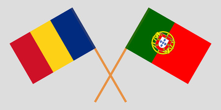 Portugal and Romania. The Portuguese and Romanian flags. Official colors. Correct proportion. Vector illustration