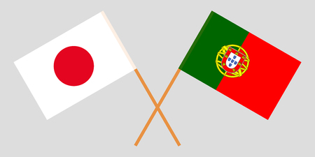 Portugal and Japan. The Portuguese and Japanese flags. Official colors. Correct proportion. Vector illustration Vettoriali