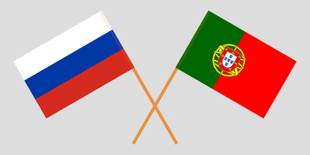 Portugal and Russia. The Portuguese and Russian flags. Official colors. Correct proportion. Vector illustration Çizim