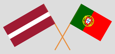 Portugal and Latvia. The Portuguese and Latvian flags. Official colors. Correct proportion. Vector illustration