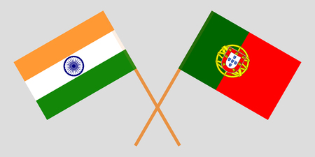 Portugal and India. The Portuguese and Indian flags. Official colors. Correct proportion. Vector illustration