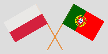 Portugal and Poland. The Portuguese and Polish flags. Official colors. Correct proportion. Vector illustration