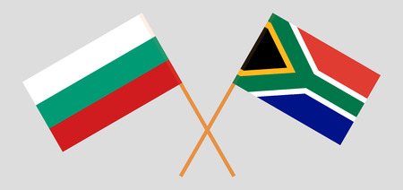 RSA and Bulgaria. The South African and Bulgarian flags. Official colors. Correct proportion. Vector illustration