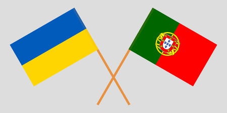 Portugal and Ukraine. The Portuguese and Ukrainian flags. Official colors. Correct proportion. Vector illustration