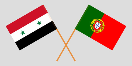 Portugal and Syria. The Portuguese and Syrian flags. Official colors. Correct proportion. Vector illustration