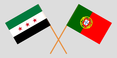 Portugal and Interim Government of Syria. The Portuguese and Coalition flags. Official colors. Correct proportion. Vector illustration