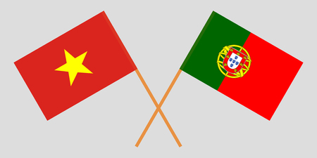 Portugal and Vietnam. The Portuguese and Vietnamese flags. Official colors. Correct proportion. Vector illustration